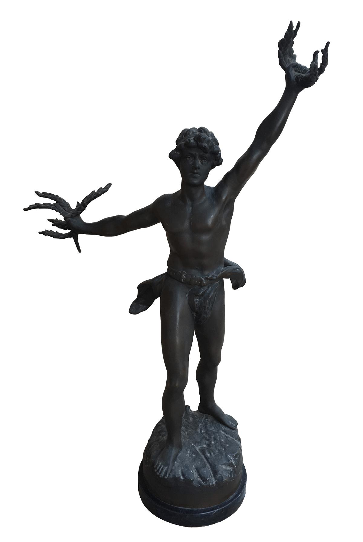 Magnifica Escultura Antiga Em Bronze Assinada 85cm