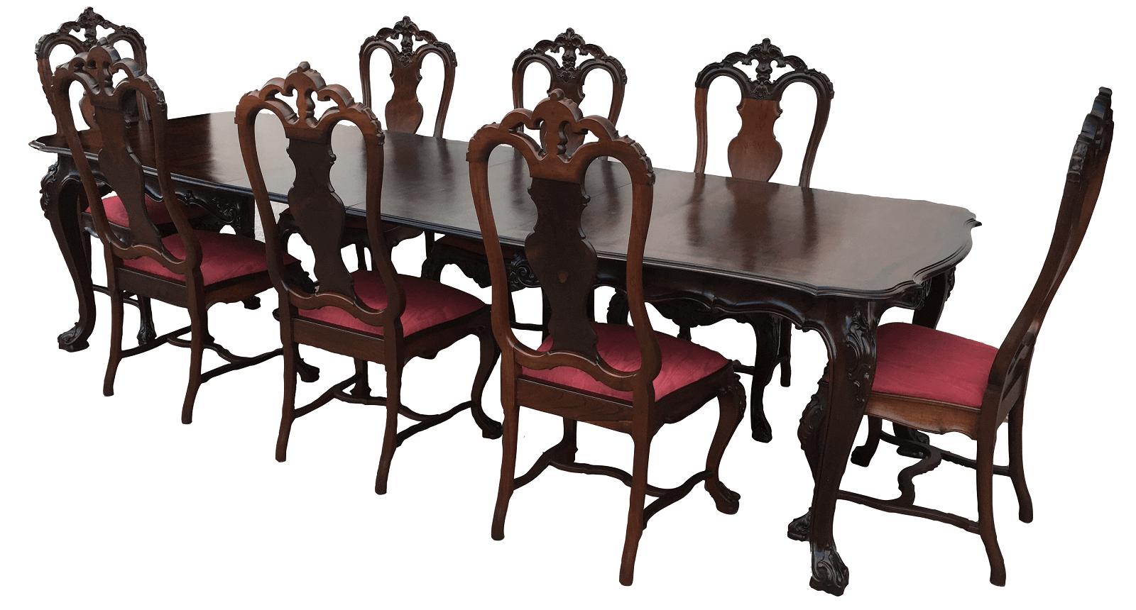 Magnifica Mesa Antiga De Jantar 8 Cadeiras Dom Jose Jacaranda Maciço