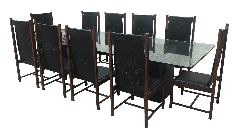 Magnifica Mesa De Jantar 10 Cadeiras Jacaranda Anos 60 Design