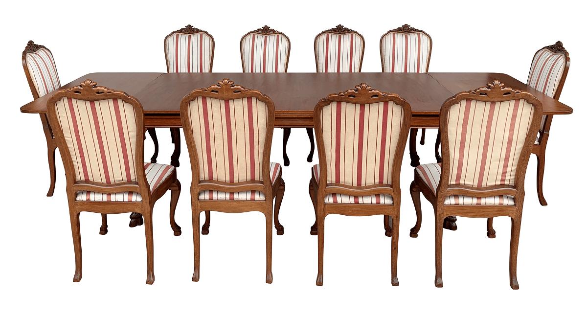 Magnifica Mesa De Jantar Antiga 10 Cadeiras Luis Xv Laubisch Hirth