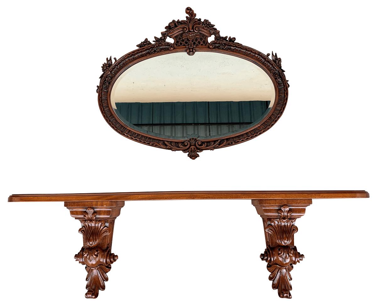 Magnífico Aparador Antigo De Parede Com Espelho Cerejeira Entalhado