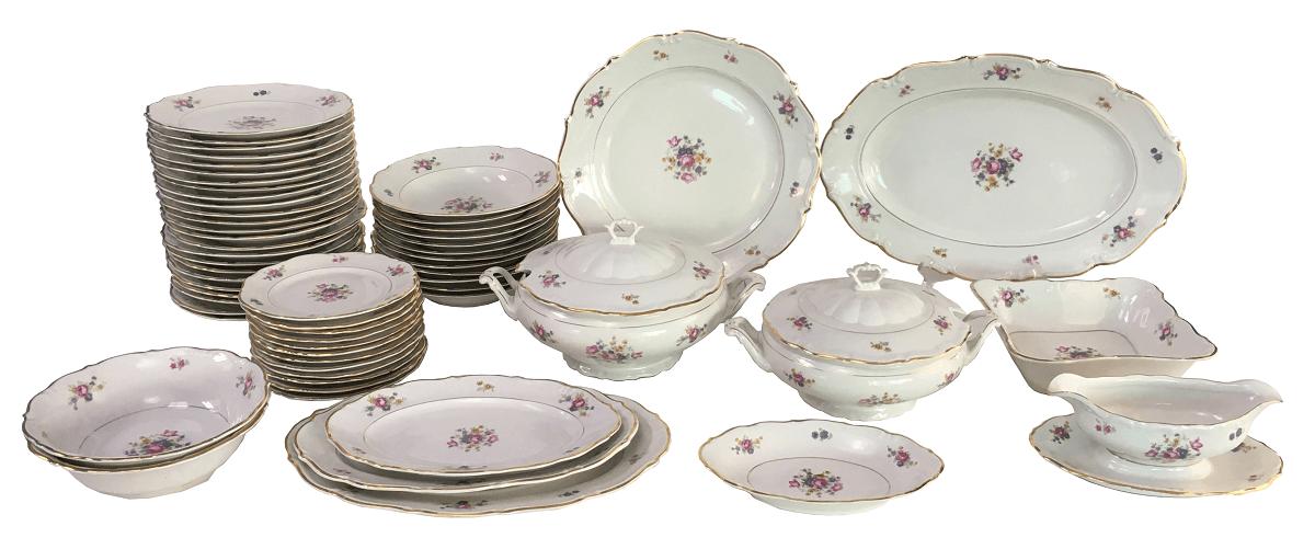 Magnifico Aparelho De Jantar Polones Porcelana Antiga Completo 60 pçs