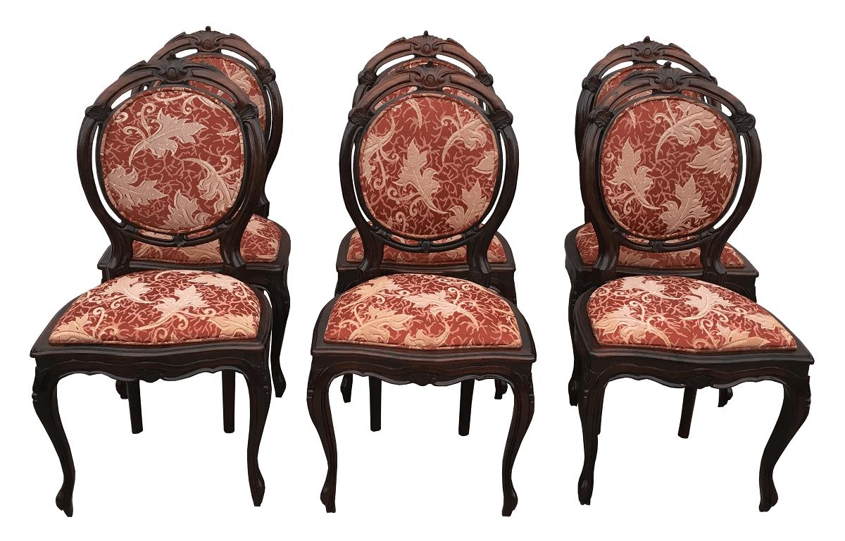 Magnífico Conjunto 6 Cadeiras Medalhao Duplo Jacaranda