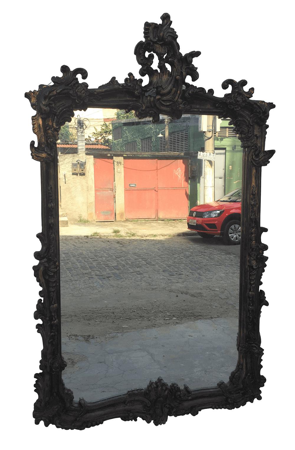 Magnifico Espelho Luis Xv Moldura Madeira Entalhada Ouro Envelhecido
