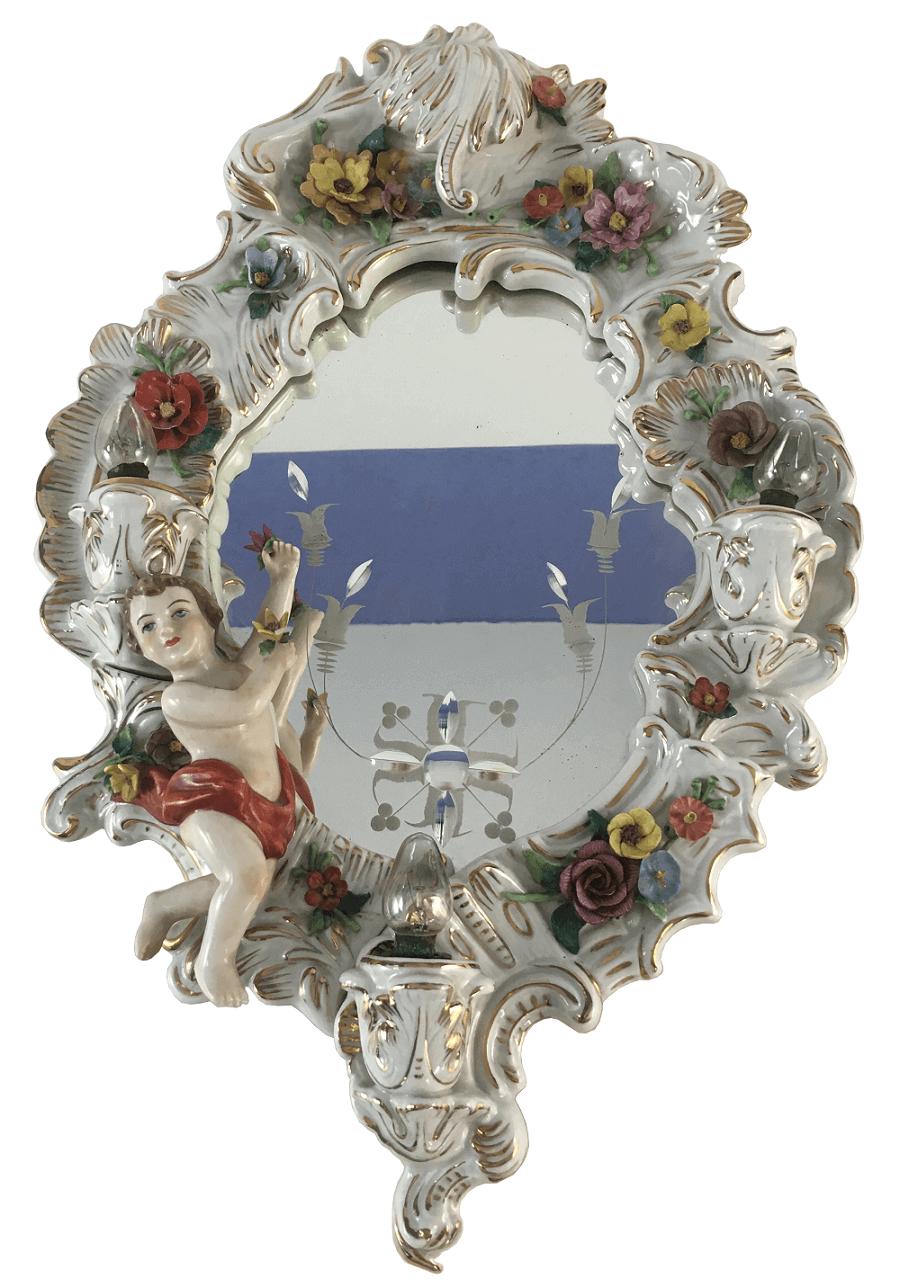 Magnifico Espelho Luminaria Antigo Porcelana Alema Possivelmente Meissen