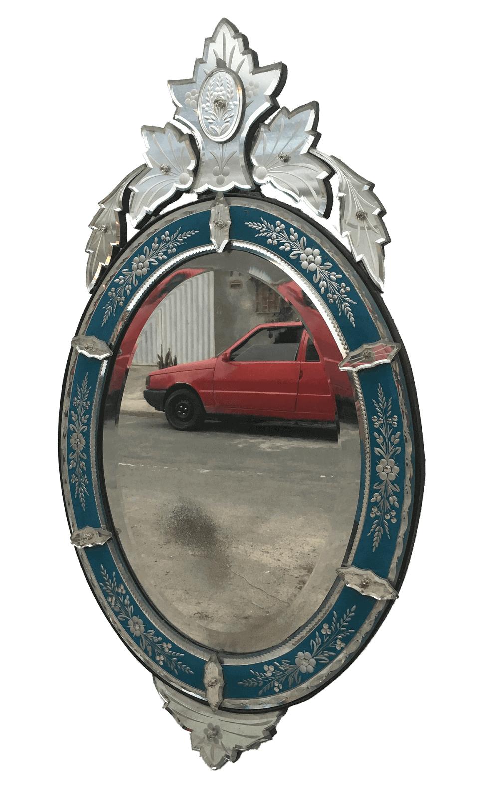 Magnifico Espelho Veneziano Antigo Autentico Azul Linda Lapidaçao