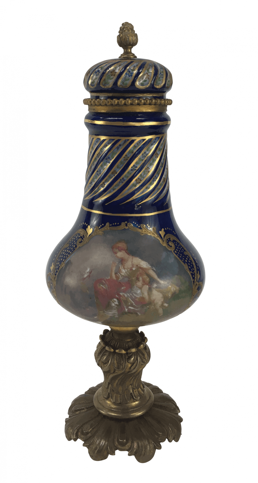 Magnifico Potiche Porcelana Antiga Sevres 30cm