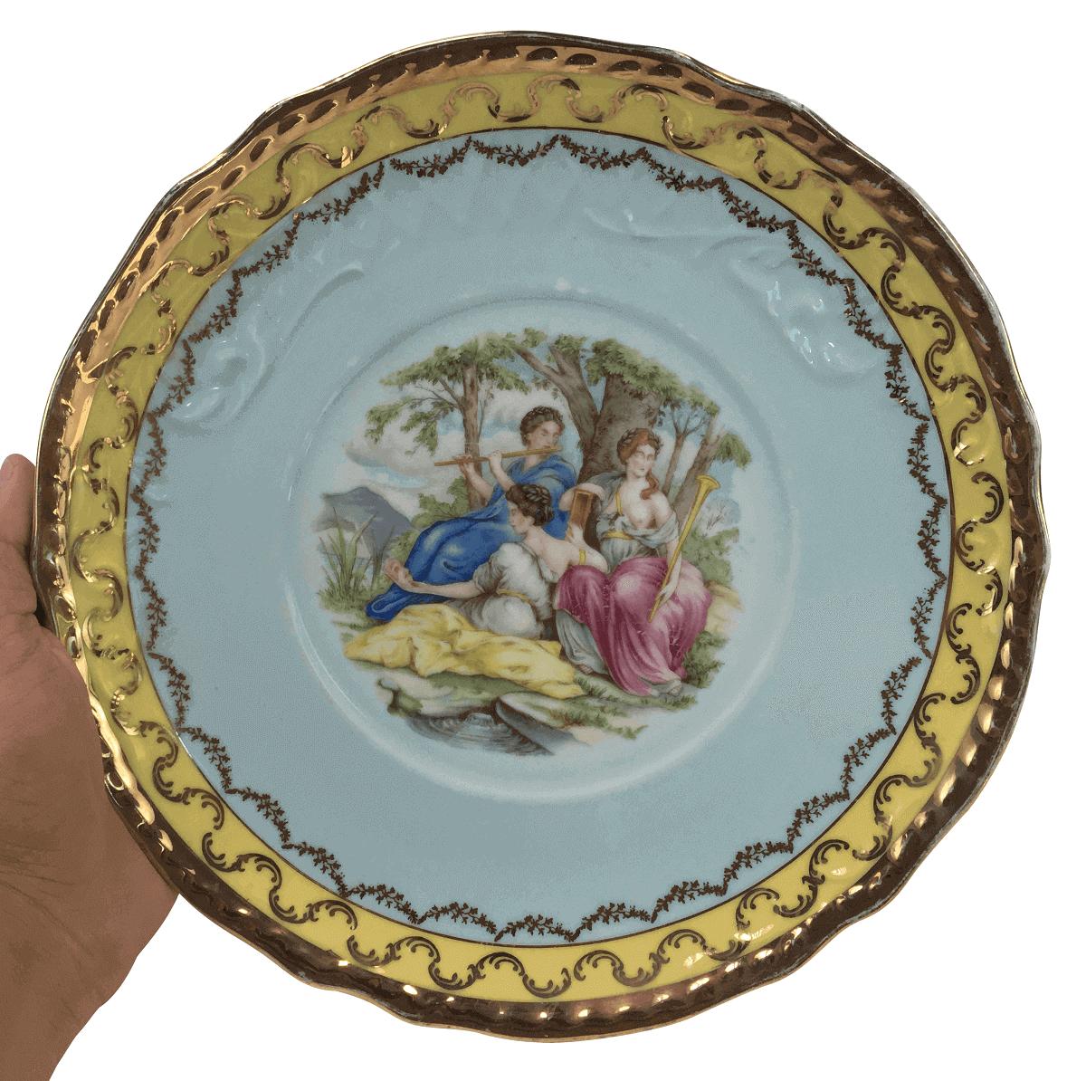 Magnifico Prato Bolo Porcelana Antiga Polovi 27cm