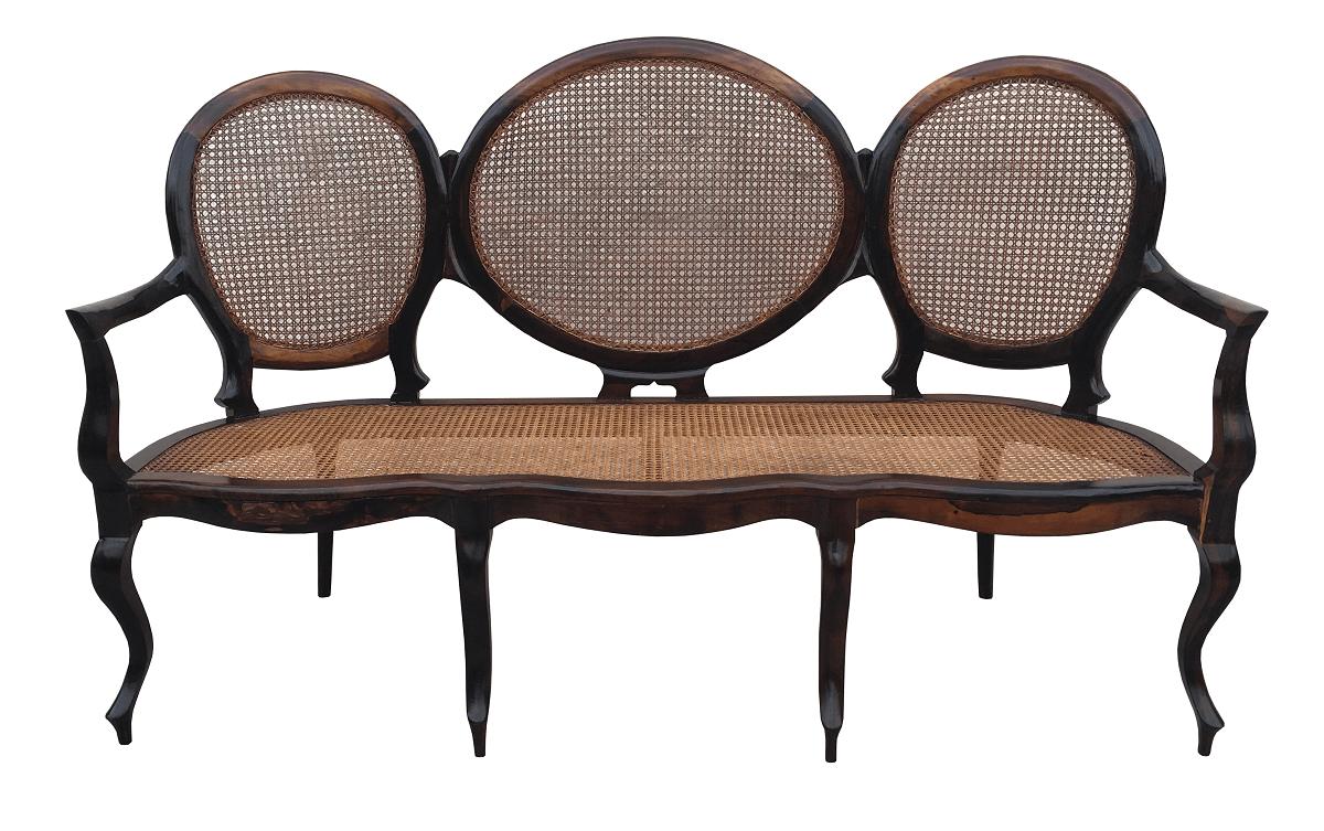Magnifico Sofa Canape Medalhao Antigo Em Jacaranda E Palhinha