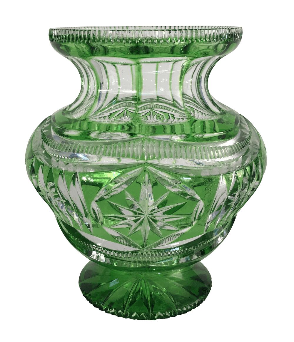 Magnifico Vaso Cristal Antigo Tcheco Bohemia Verde Perfeito