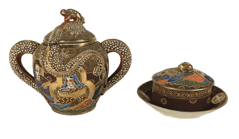 Mantegueira E Açucareiro Porcelana Antiga Satsuma