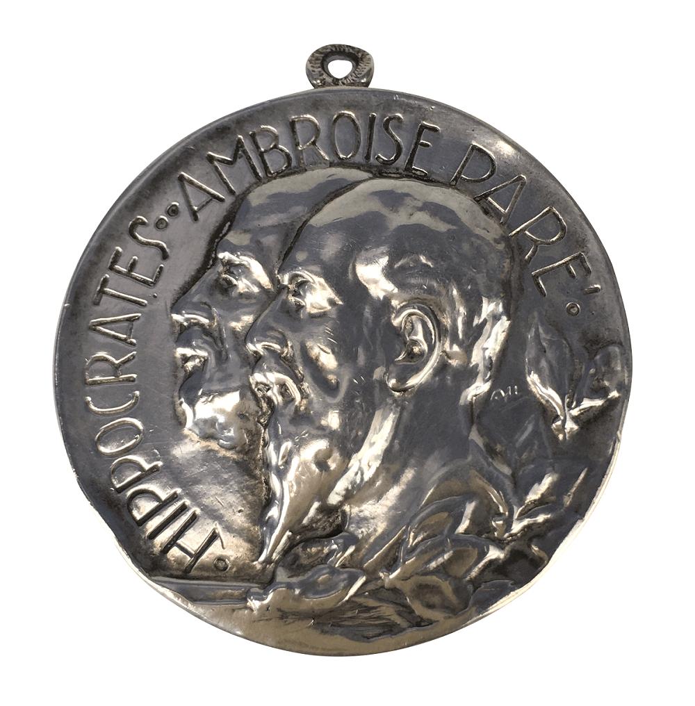 Medalha Antiga Prata De Lei Hippocrates Ambroise Pare