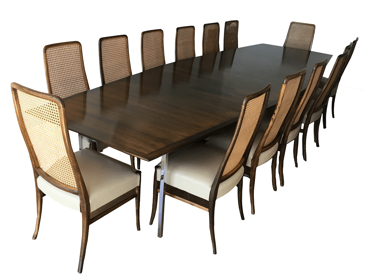 Mesa De Jantar Ou Reuniao Com 14 Cadeiras Em Jacaranda E Palhinha