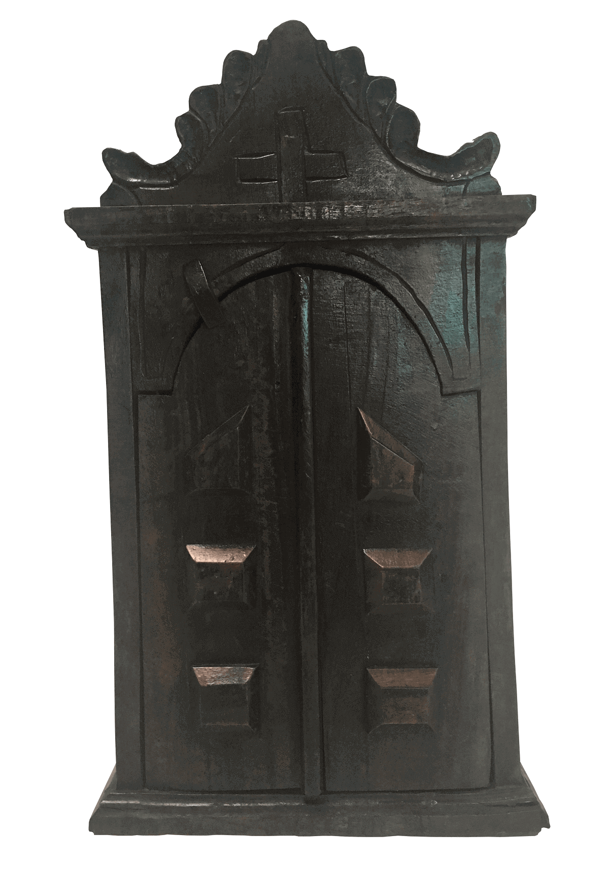 Oratorio Com Portas Antigo Em Madeira Maciça