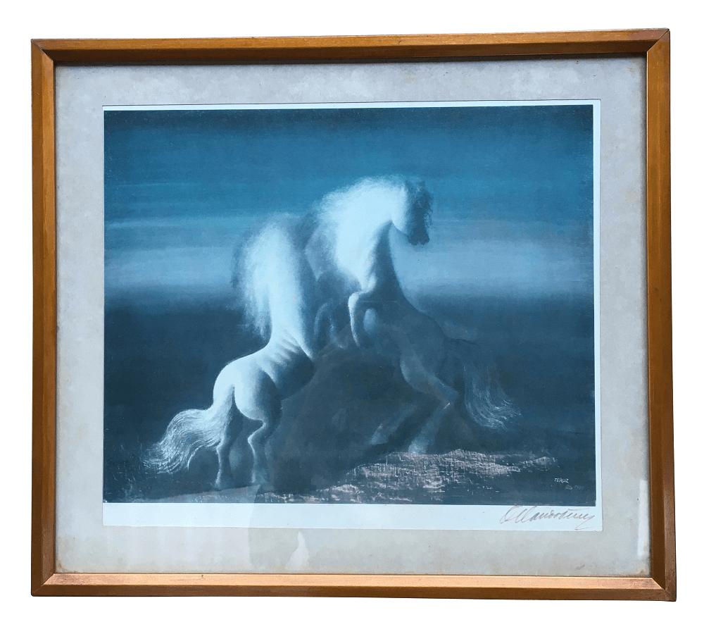 Orlando Teruz Reproduçao Antiga Assinada Cavalos