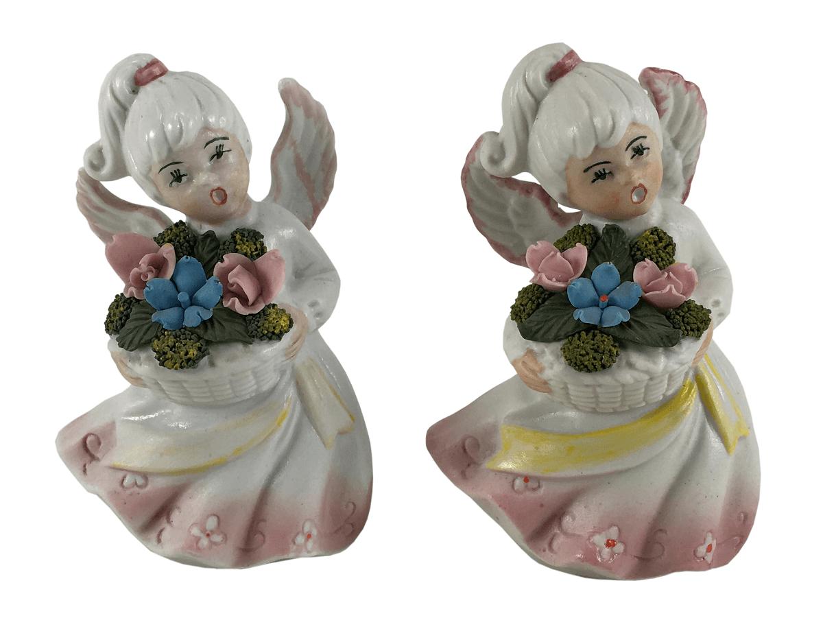 Par De Anjos Porcelana Antiga Palb