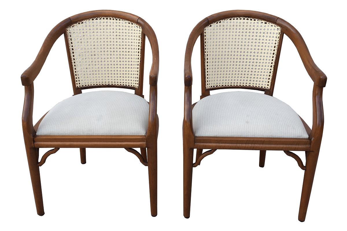Par De Cadeira Com Braço Poltrona Encosto Palhinha