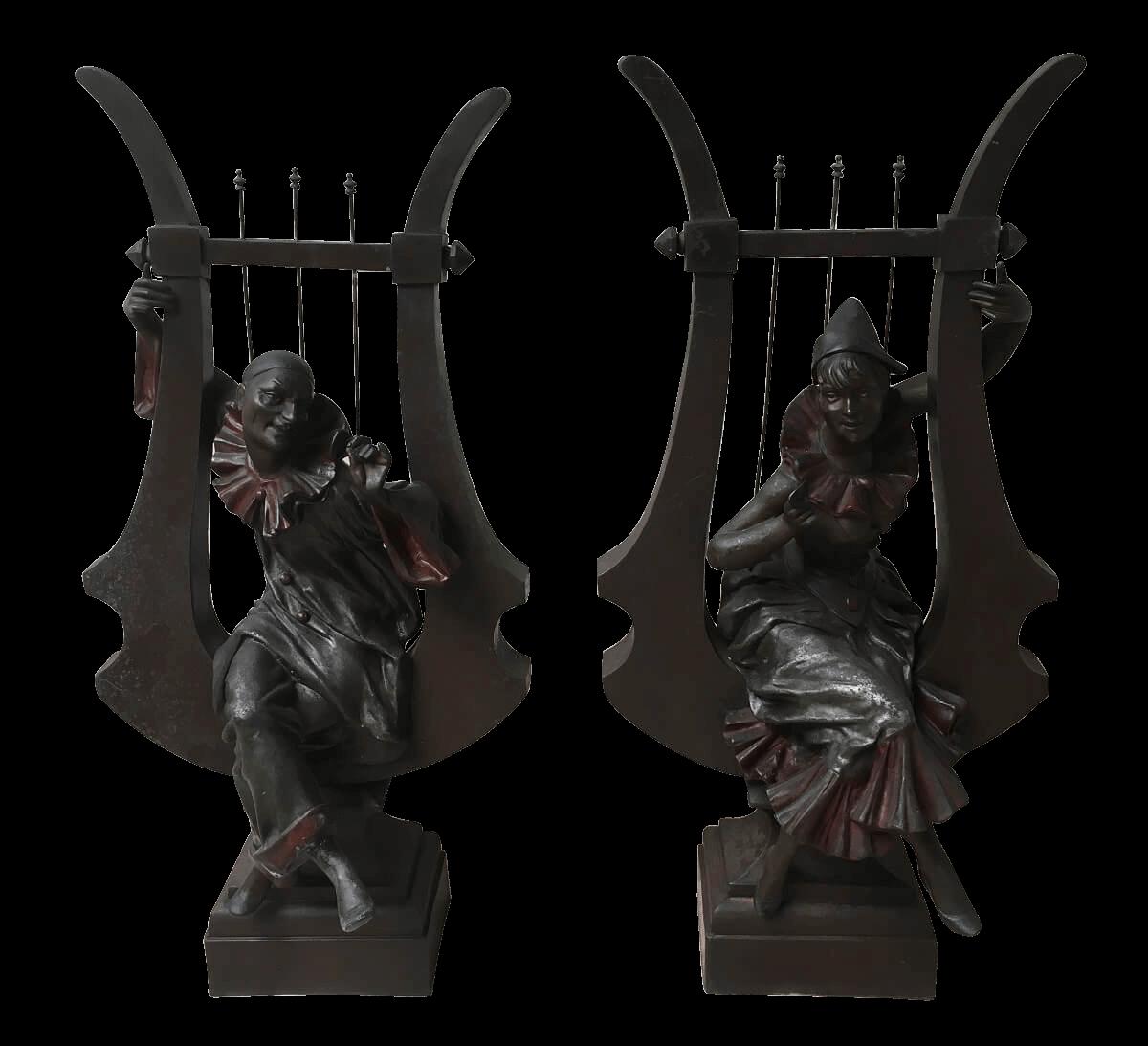 Par De Escultura Antiga Alerquim Petit Bronze