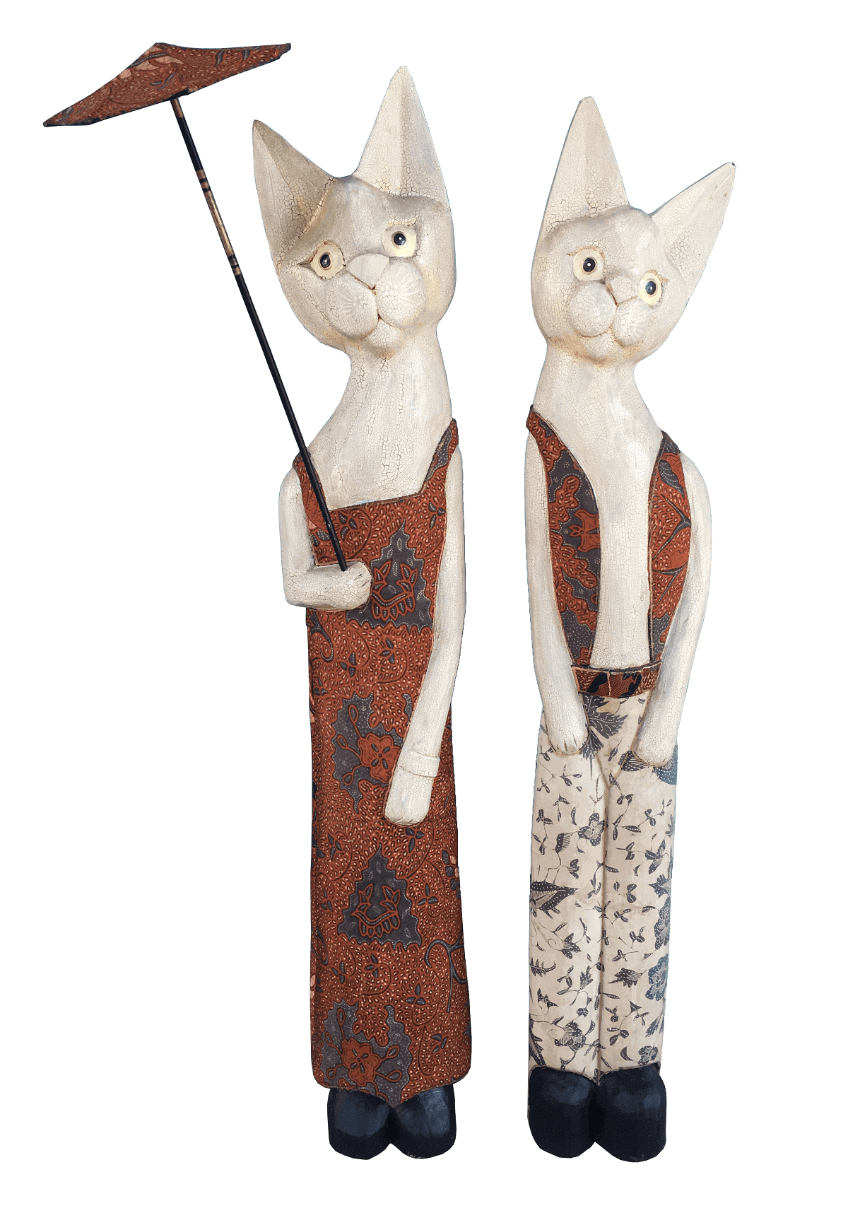 Par De Esculturas Em Madeira Casal De Gatos