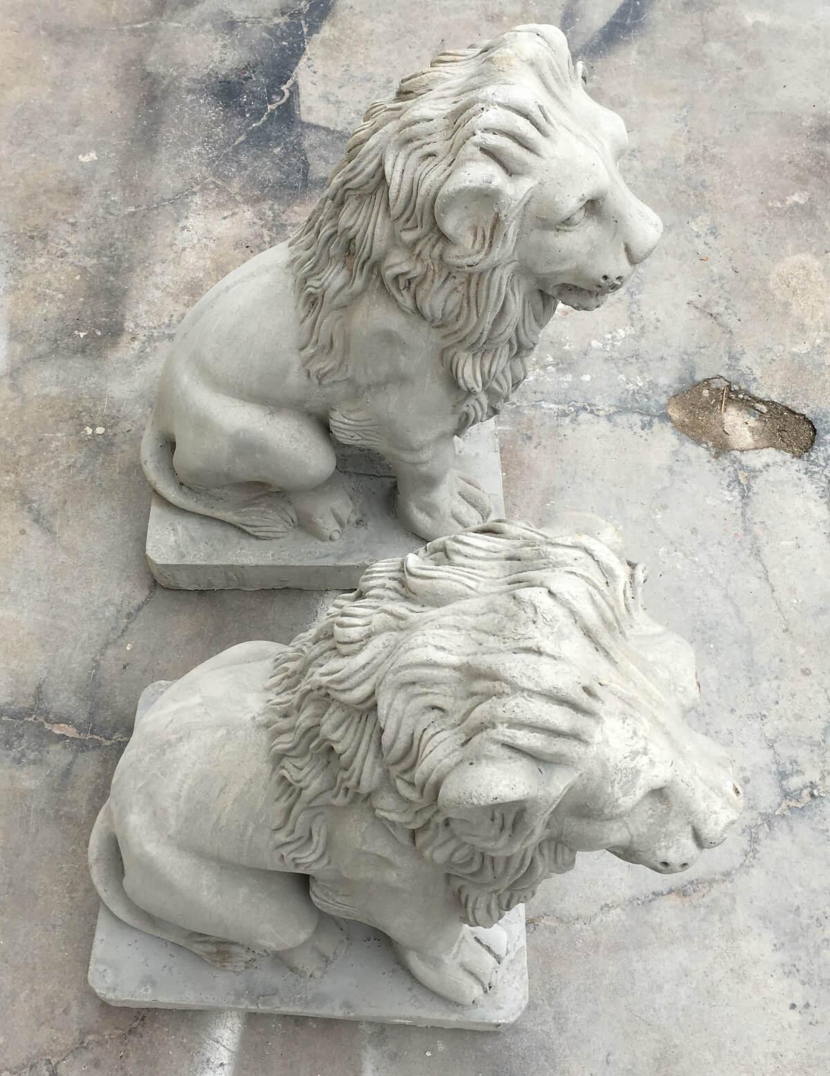 Par De Esculturas Leao Para Jardim Em Concreto