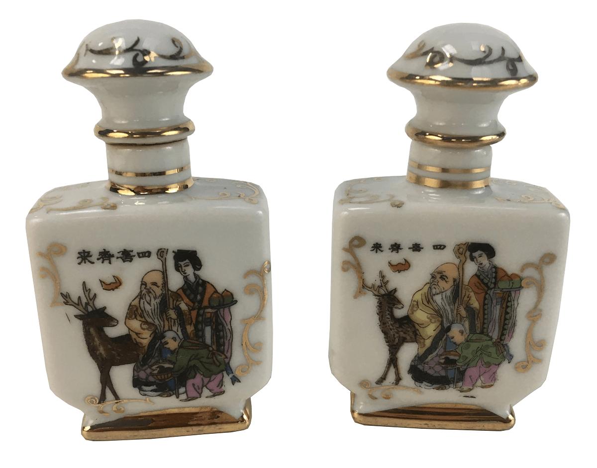 Par De Garrafinhas Porcelana Oriental