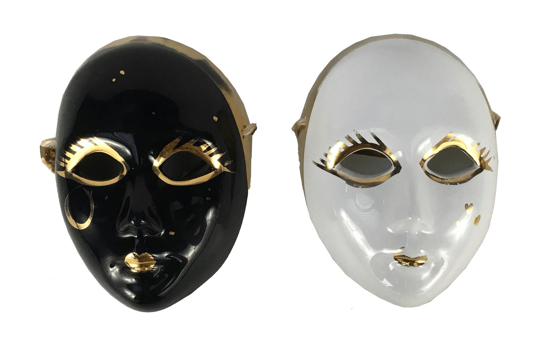 Par De Mascara Decorativa Porcelana Italiana