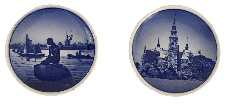 Par De Pratinhos Decorativos Em Porcelana Dinamarquesa