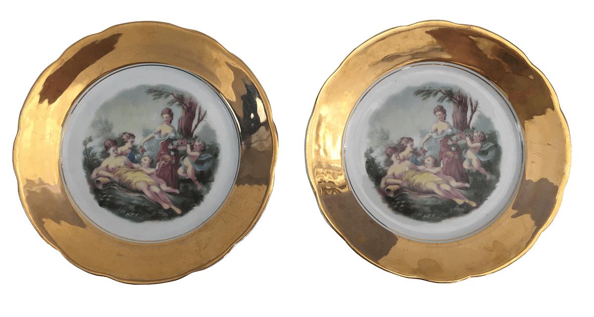 Par De Pratos De Sobremesa Porcelana Real Borda Em Ouro