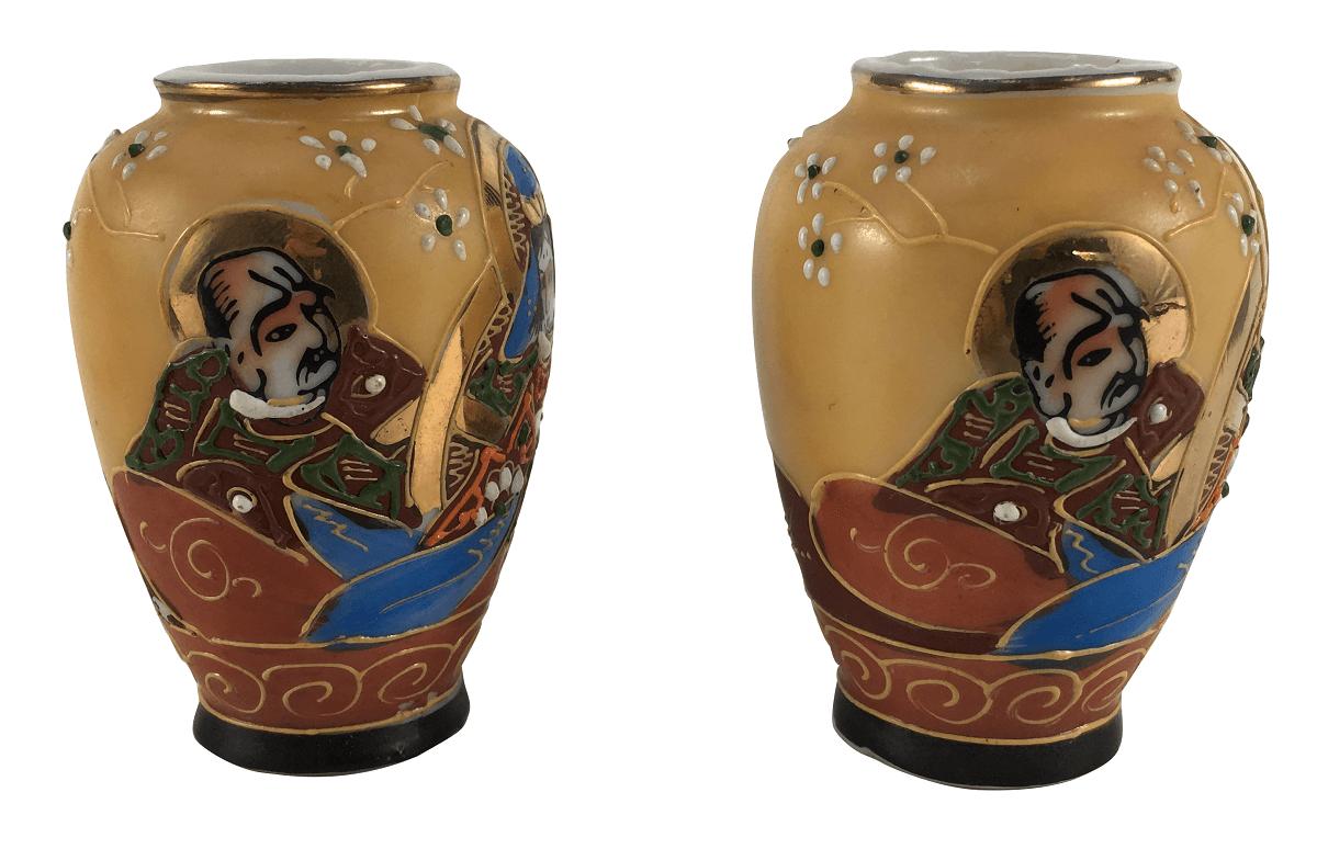 Par De Vaso Em Miniatura Porcelana Oriental