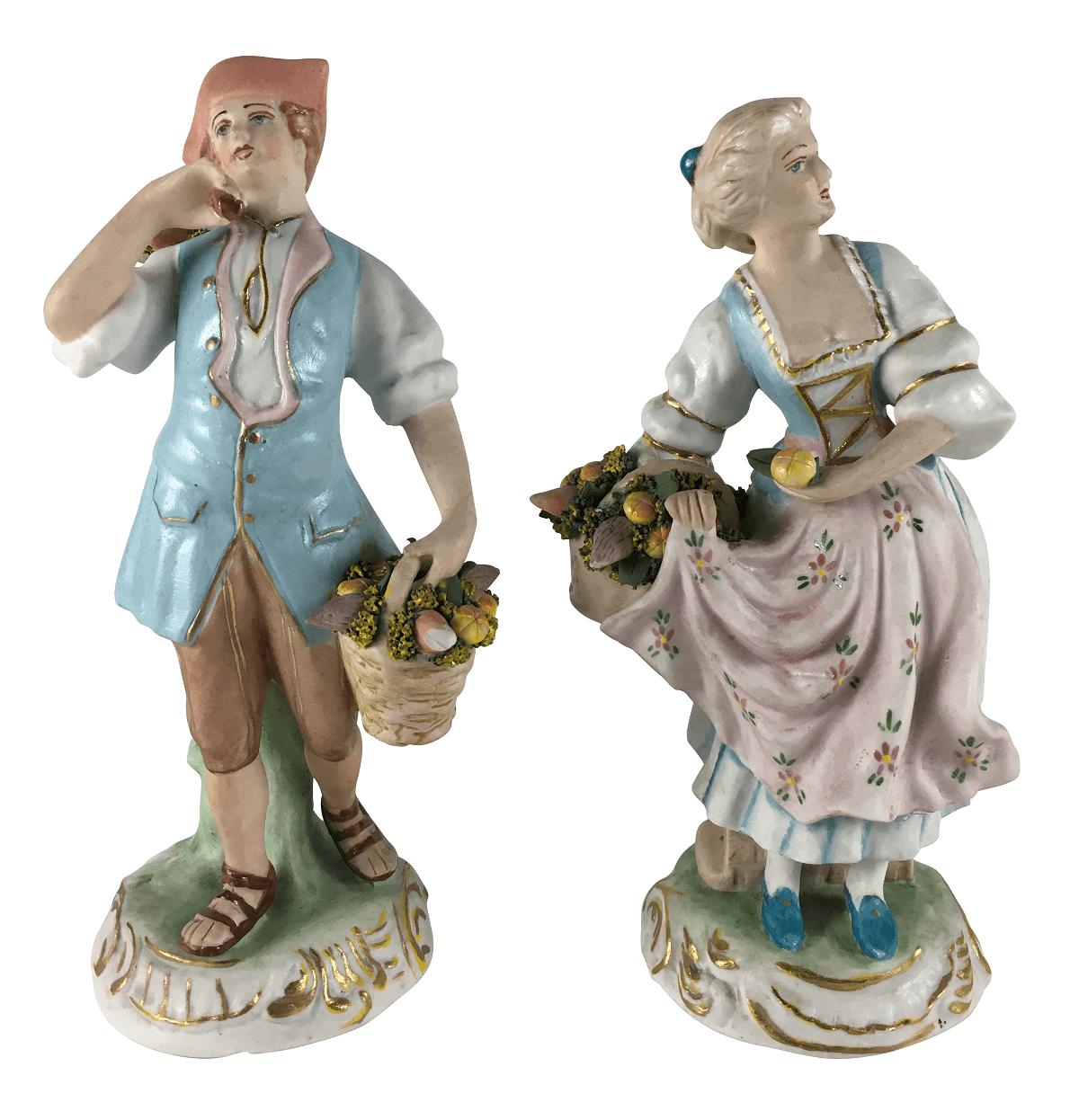 Par Escultura Antiga Casal Porcelana