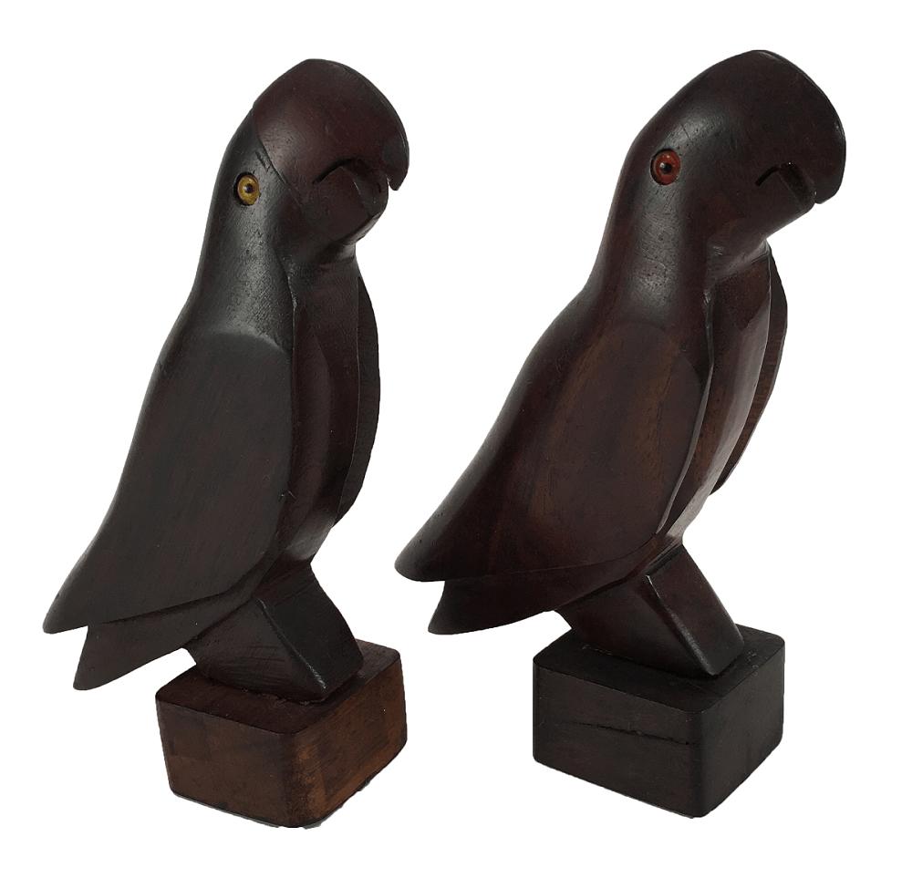 Par Papagaio Escultura Madeira