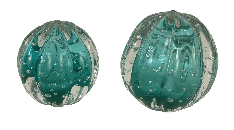 Par Pinha Esfera Em Cristal Murano Esmeralda