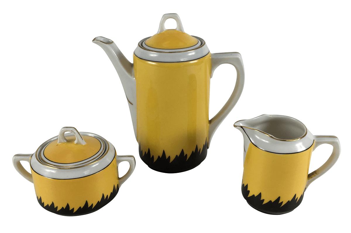 Peças Conjunto De Cafe Porcelana Antiga H&M Preto E Amarelo