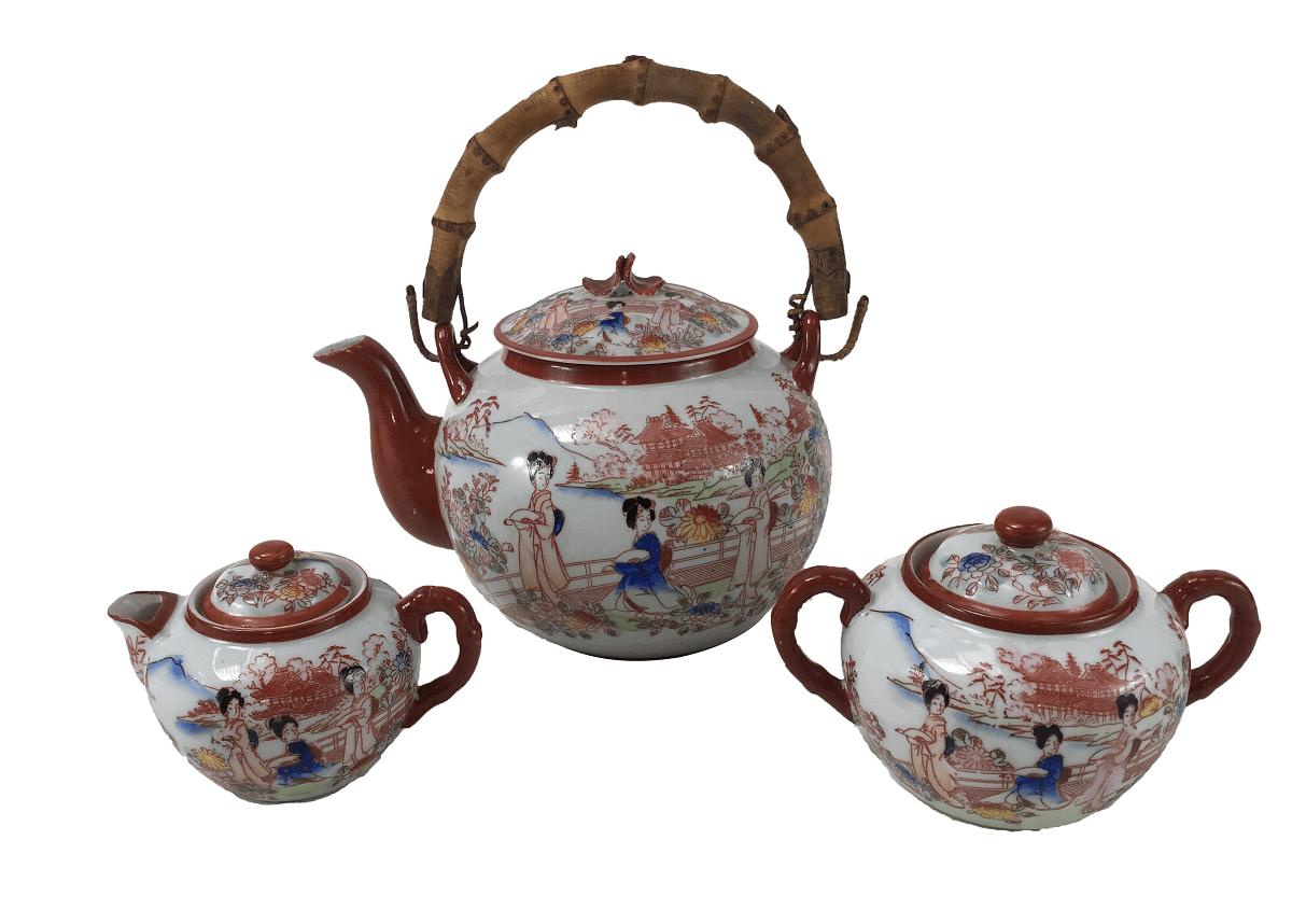 Peças Conjunto De Cha Antigo Porcelana Japonesa Gueixas