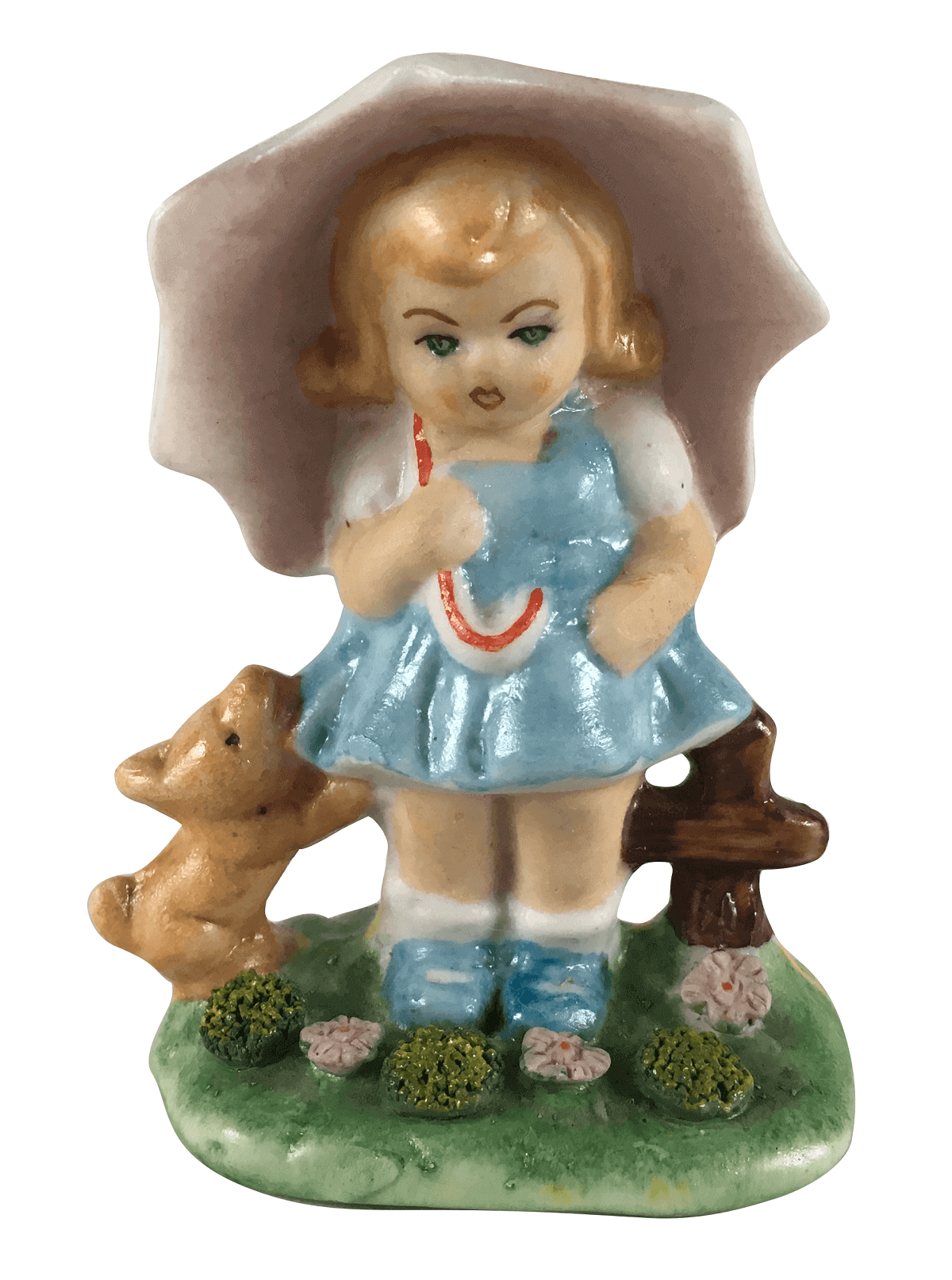 Pequena Escultura Antiga Porcelana Menina Com Cachorro