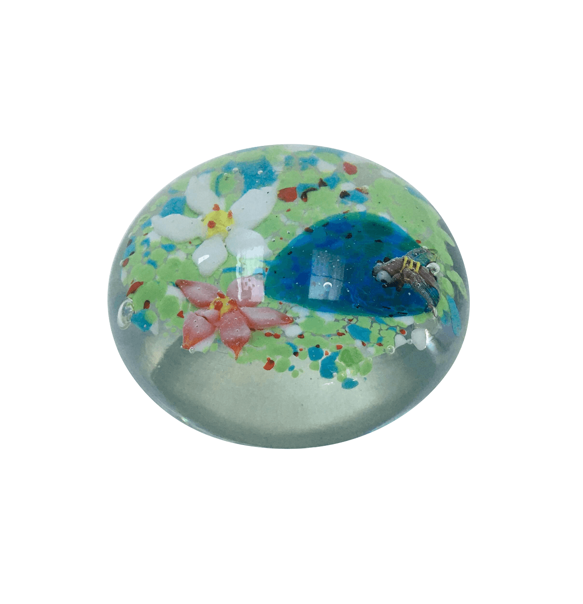 Peso De Murano Bola Desenho Abelha E Flores