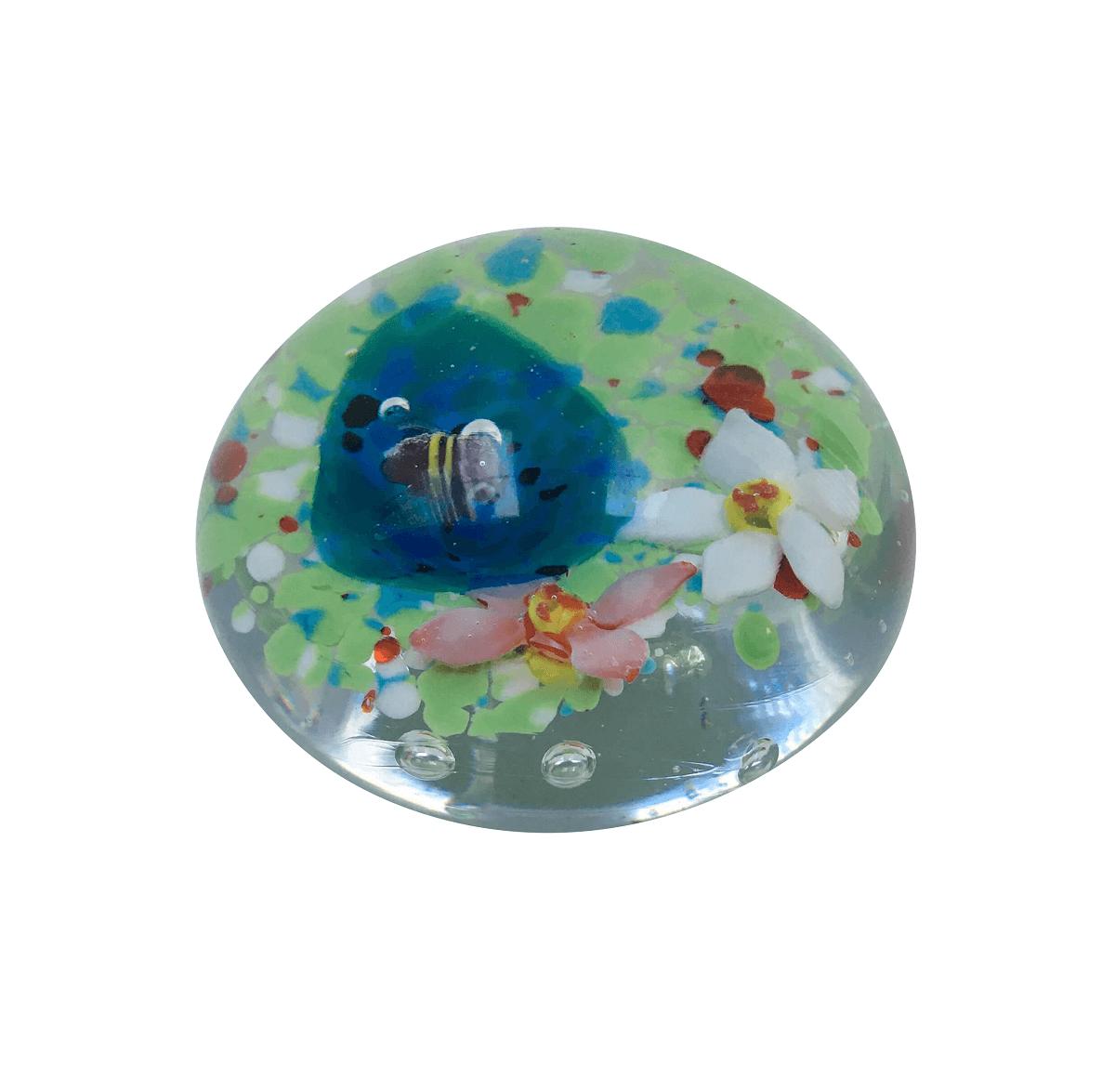 Peso De Murano Bola Desenho Flores E Abelha