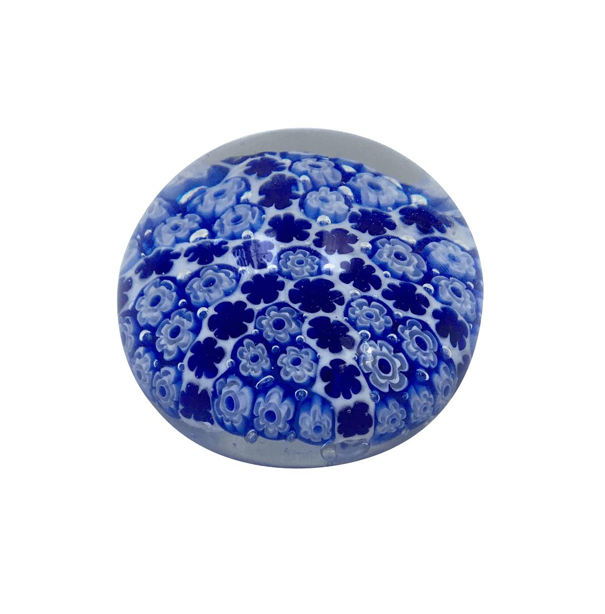 Peso De Murano Bola Flores Azul