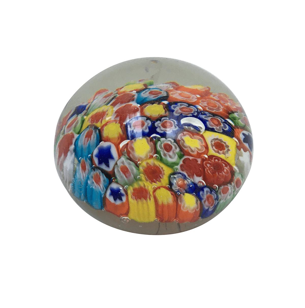 Peso De Murano Bola Flores Coloridas