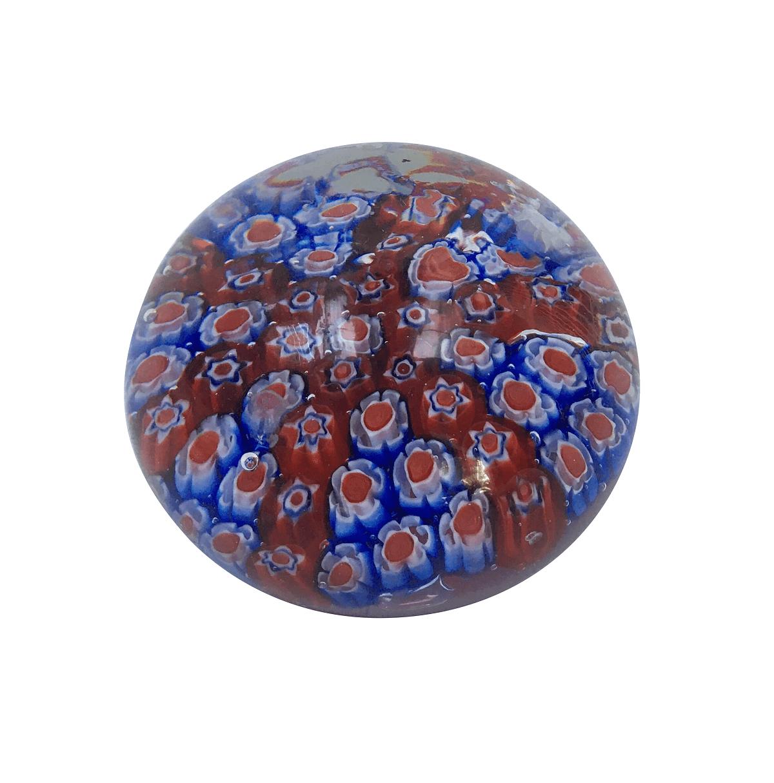 Peso De Murano Bola Flores Vermelha E Azul