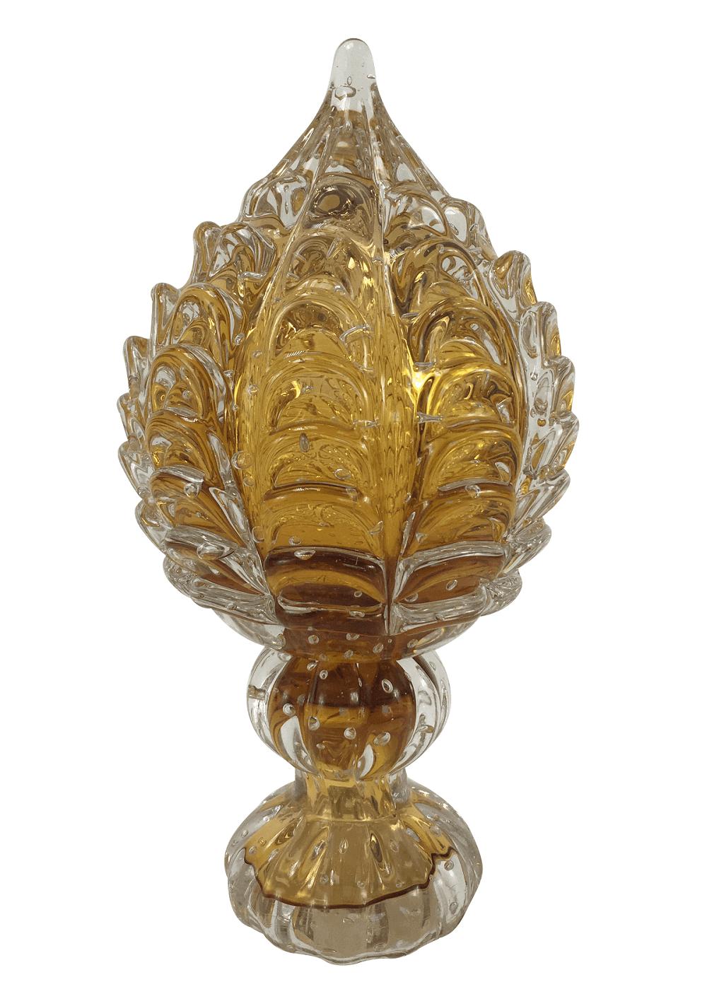 Pinha De Cristal Murano Ambar 30cm