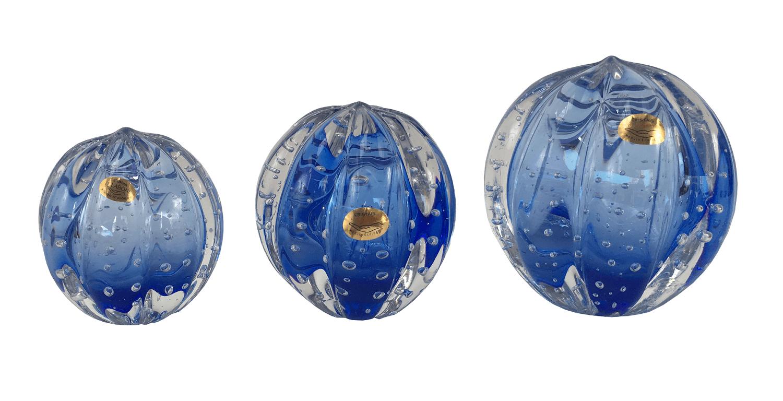 Pinha Esfera Azul Em Cristal Murano Trio