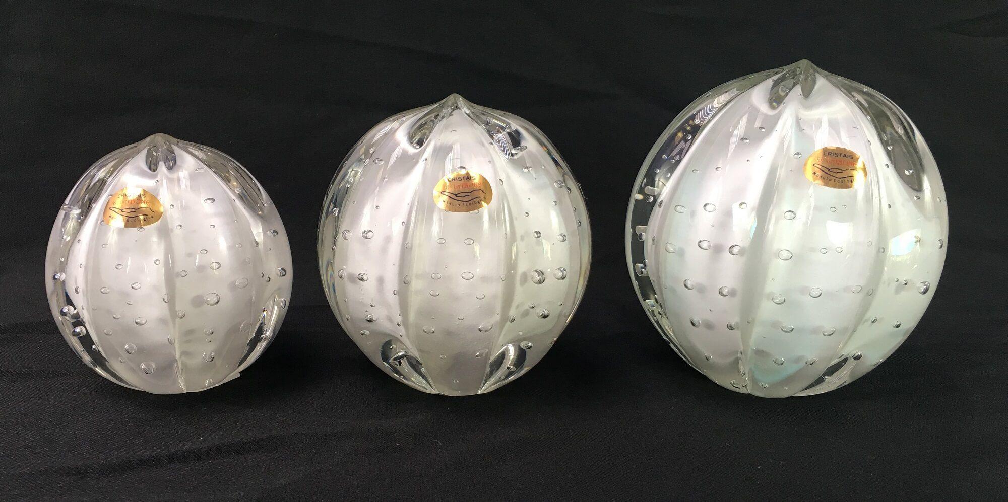 Pinha Esfera Em Cristal Murano Trio Branco