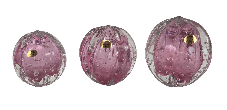 Pinha Esfera Em Cristal Murano Trio Rosa