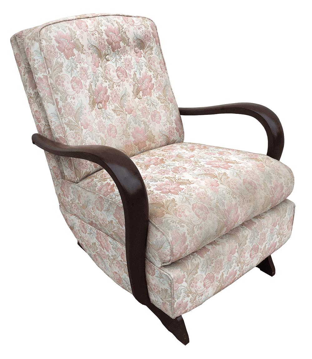 Poltrona Antiga Cadeira De Balanço Art Deco