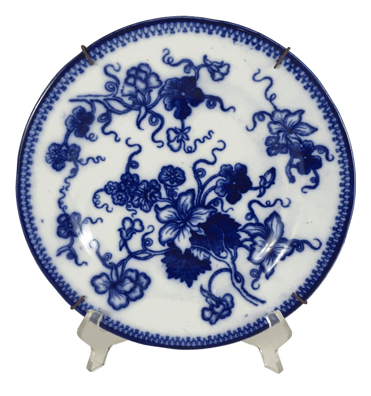 Prato Antigo Porcelana Gustavsberg Azul E Branco