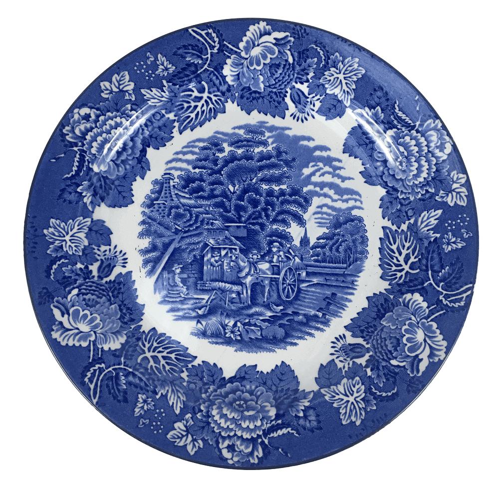Prato Antigo Raso Porcelana Inglesa Fazendinha 25cm