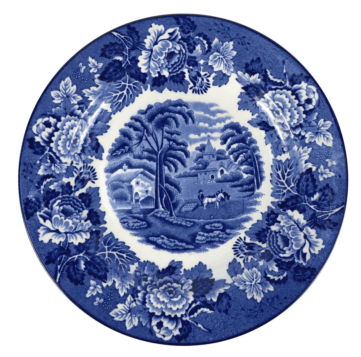 Prato Antigo Sobremesa Porcelana Inglesa Fazendinha 17cm
