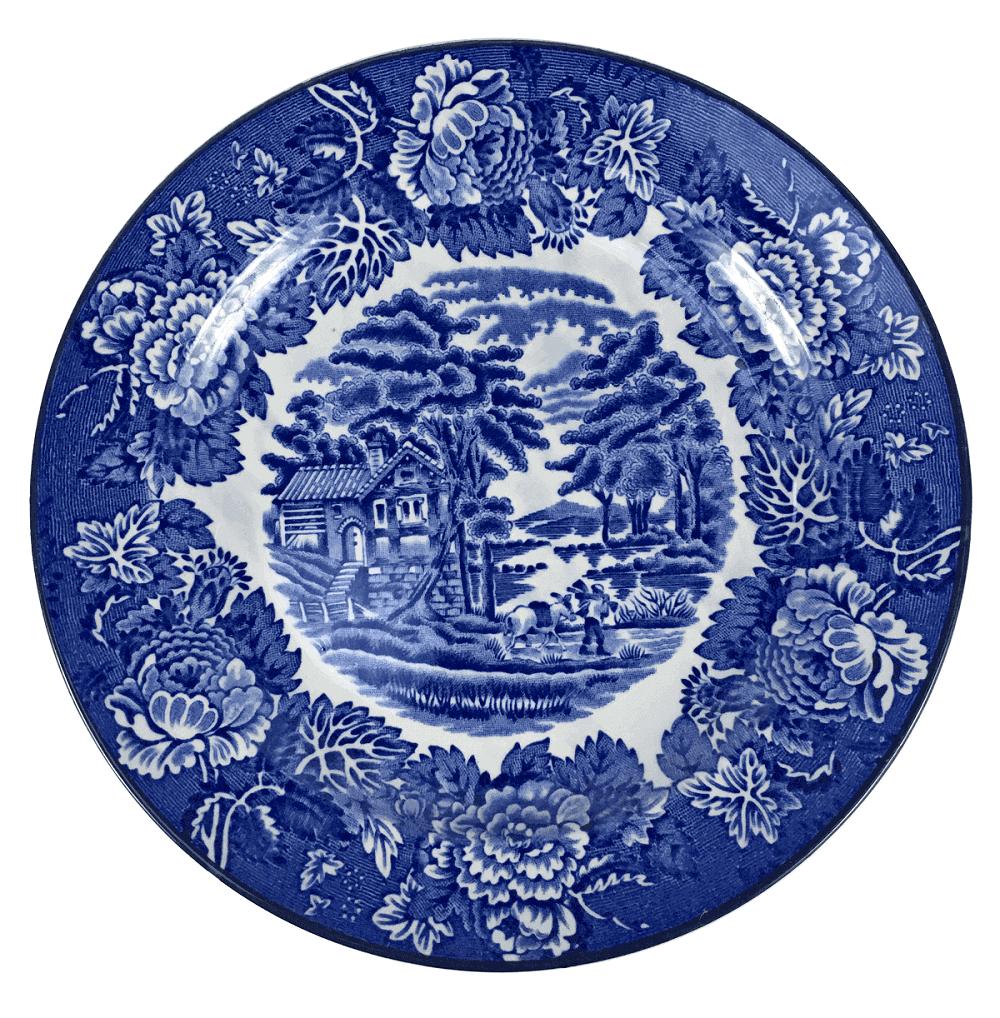 Prato Antigo Sobremesa Porcelana Inglesa Fazendinha 19cm