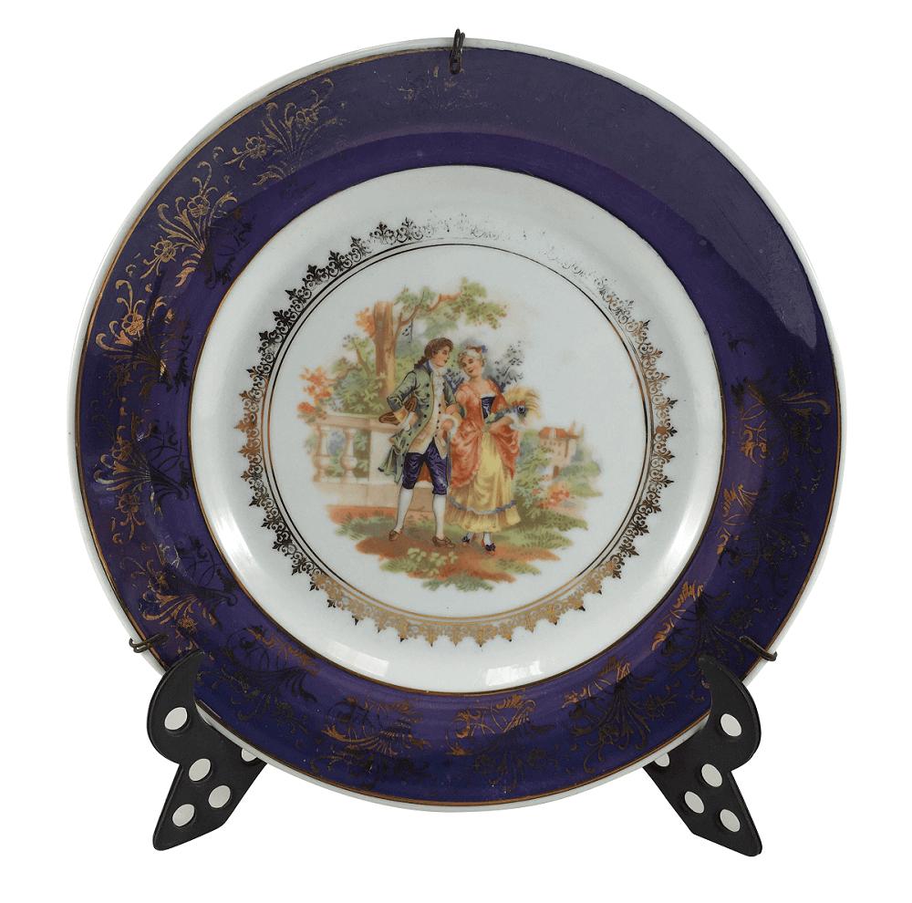 Prato Decorativo Antigo Em Porcelana Schmidt Cena Galante